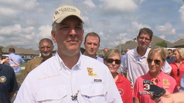 Gov. Edwards in Youngsville after the flood