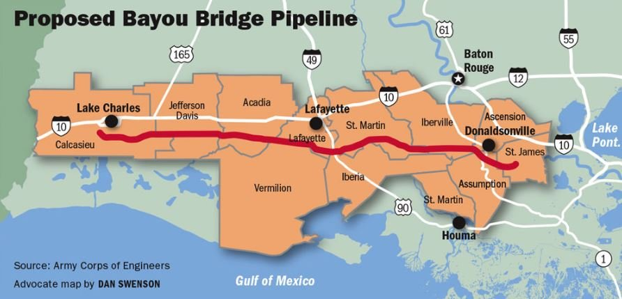 The Bayou Bridge Pipeline would impact about 454 acres of jurisdictional wetlands and 42 acres of other Waters of the U.S.