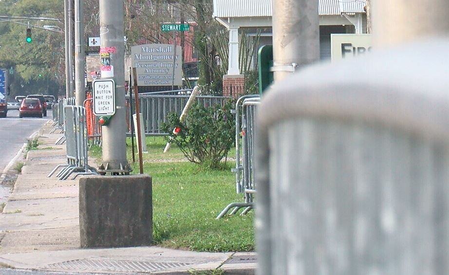Barricades along the parade route