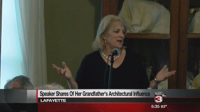 Leslie Hays Gladney, granddaughter of A. Hays Town, visits the Alexandre Mouton House in Lafayette.
