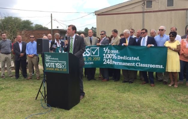 Parish-wide elected officials including Mayor-President Joel Robideaux, Sheriff Mark Garber, Assessor Conrad Comeaux, Clerk of Court Louis Perret, and District Attorney Keith Stutes joined the Bishop in support of the ½ cent, 100% dedicated temporary tax