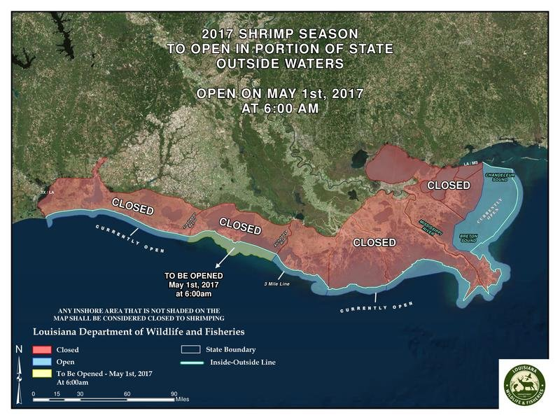 Map of open state waters for shrimp season as of May 1, 2017 / LDWF