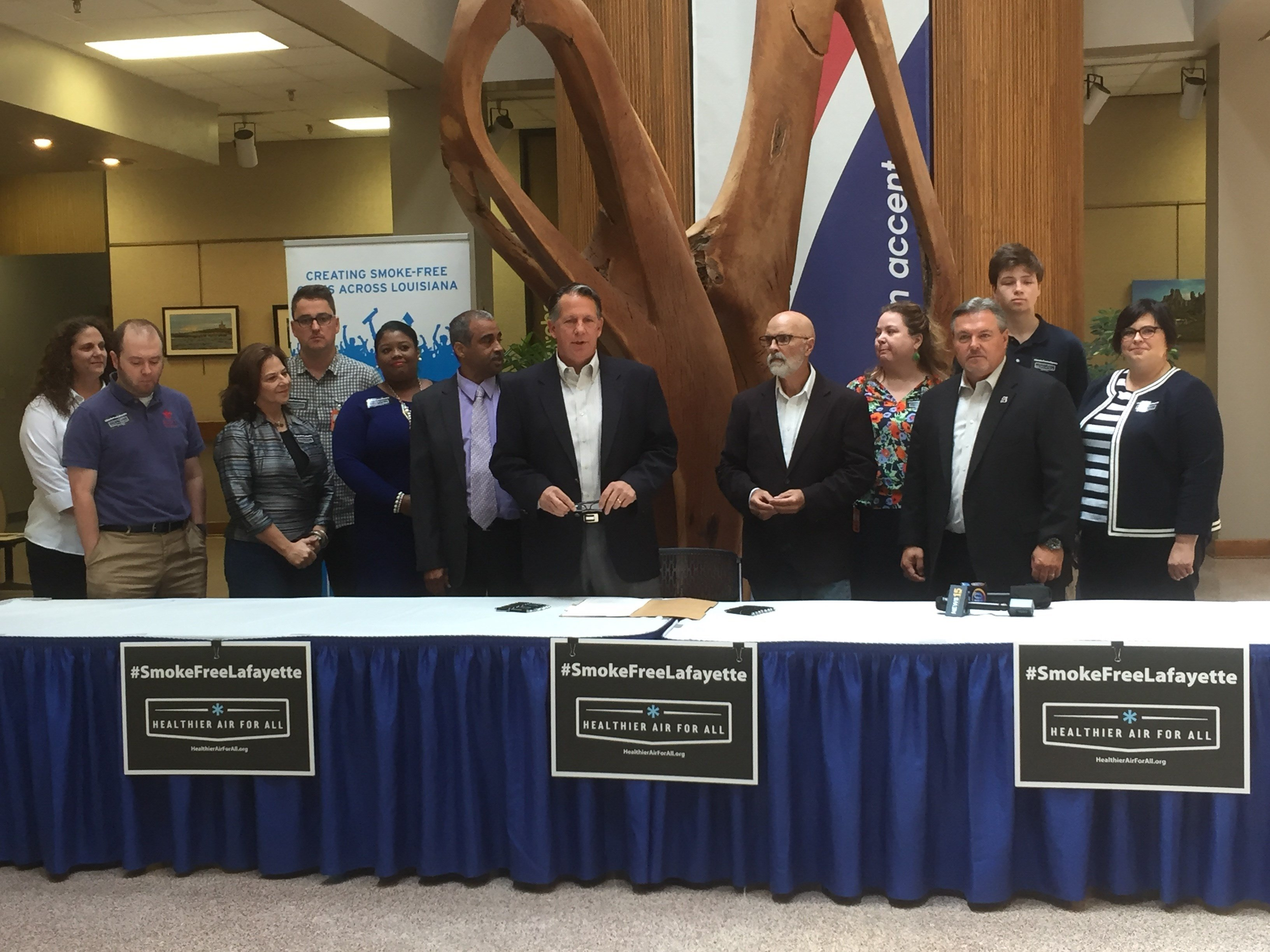 Lafayette Consolidated Government officials and staff, members of the media and the general public were invited to attend the ceremonial signing of the smoking ordinance