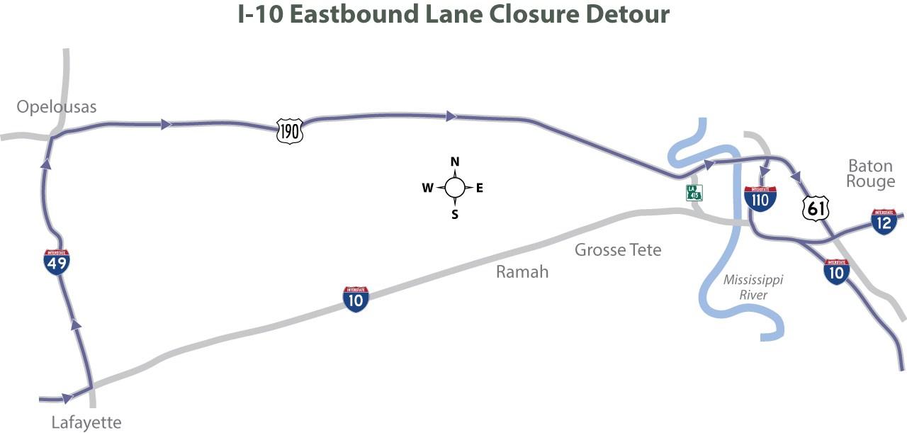 I-10 lane closure from Mississippi River bridge to Atchafalaya bridge / Courtesy of DOTD