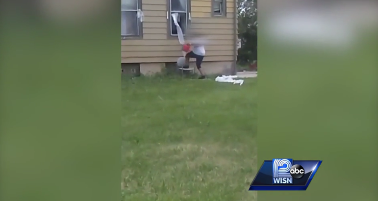 suspect setting fire in Wisconsin / Courtesy of WISN