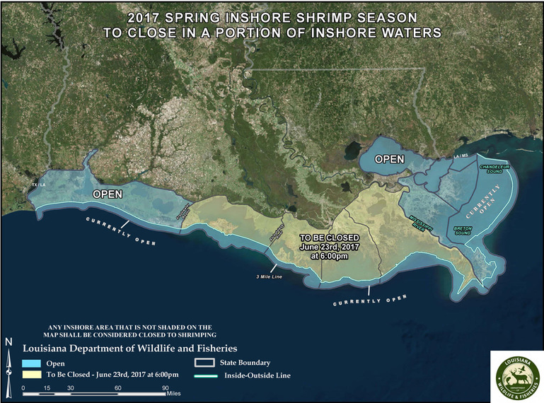 Inshore shrimp season closure / courtesy of Louisiana Department of Wildlife and Fisheries