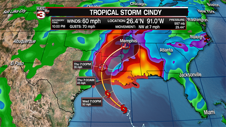 Tropical Storm Cindy heads toward land