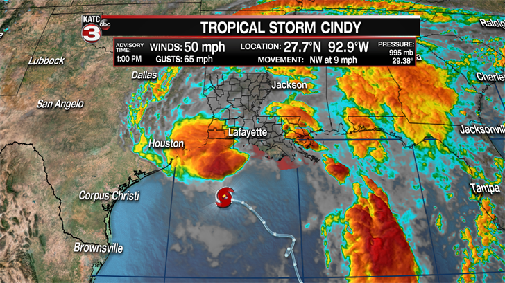 Tropical Storm Cindy ashore in southwest Louisiana