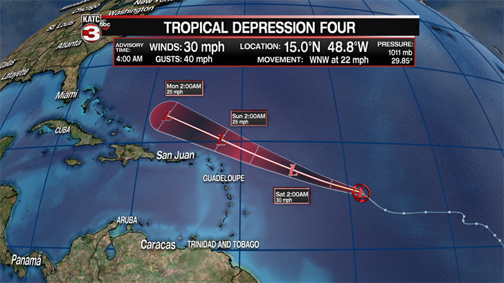 Tropical Depression Four downgraded to remnant low