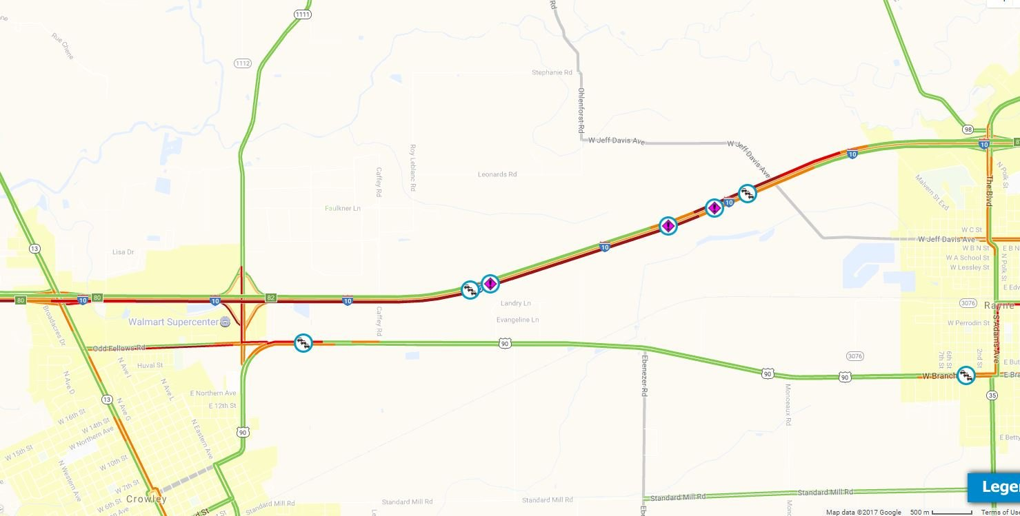 Accident reported on I-10 near Rayne / DOTD