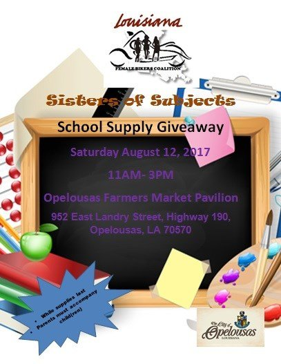 School supply drive, Sisters of Subjects / Female Biker Coalition