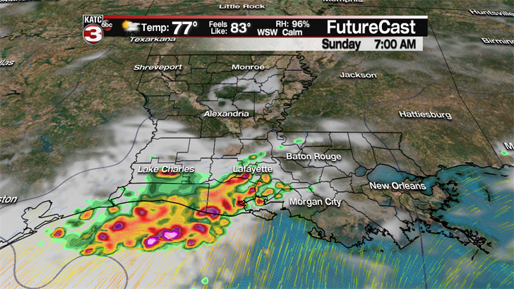 Isolated showers and storms Sunday with a partly cloudy sky