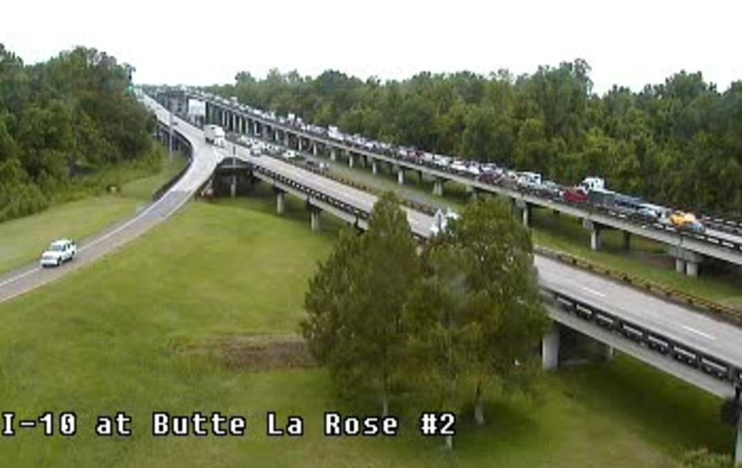Congestion on I-10 W at Butte La Rose