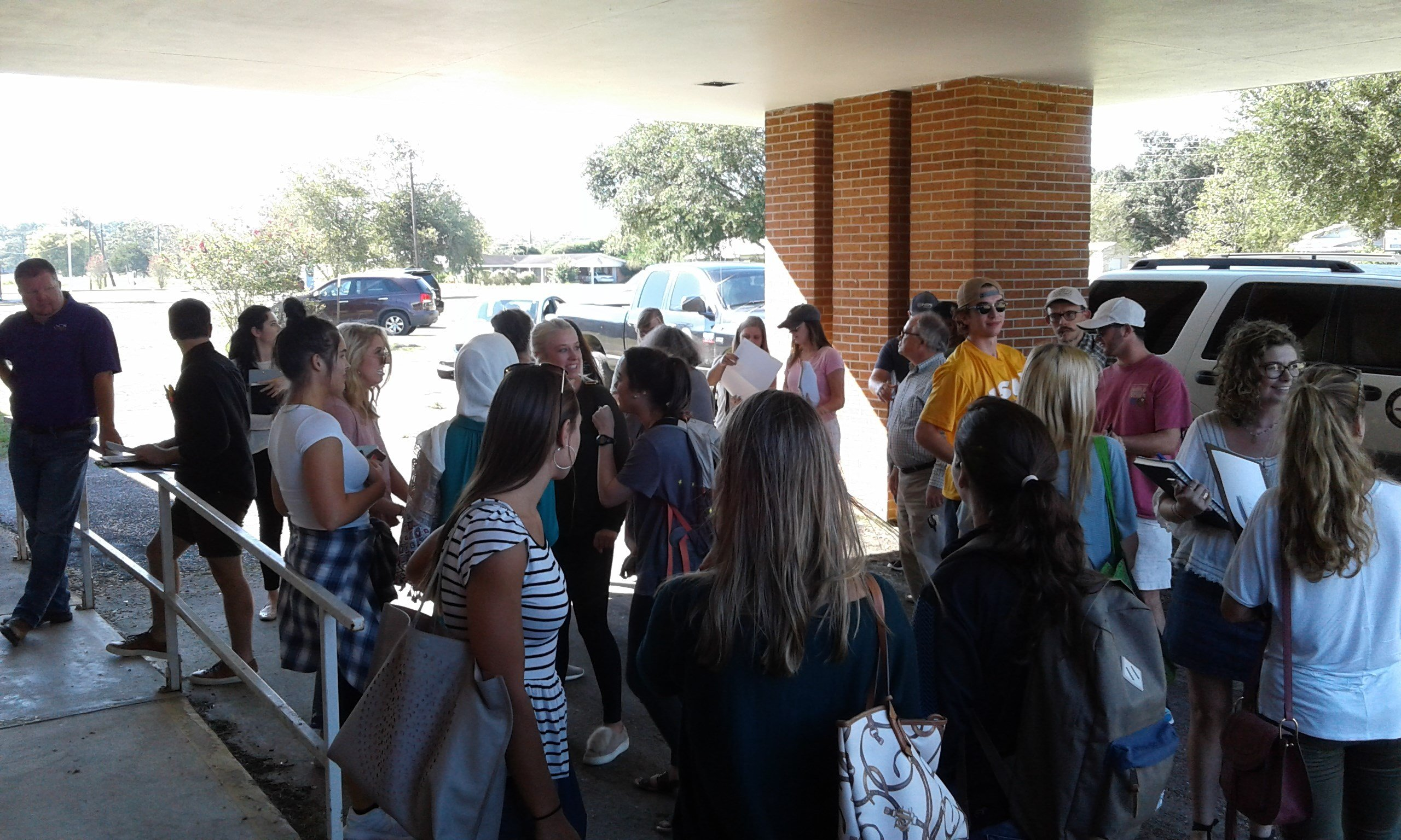 LSU students meet outside the former St. Luke Community Hospital facility / Courtesy: Jacqueline Cochran of NUNU Arts and Culture Collective