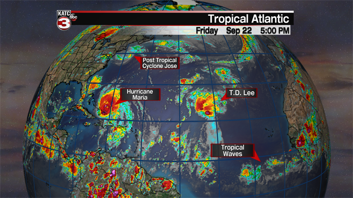 Maria continues northerly track, Lee become a hurricane