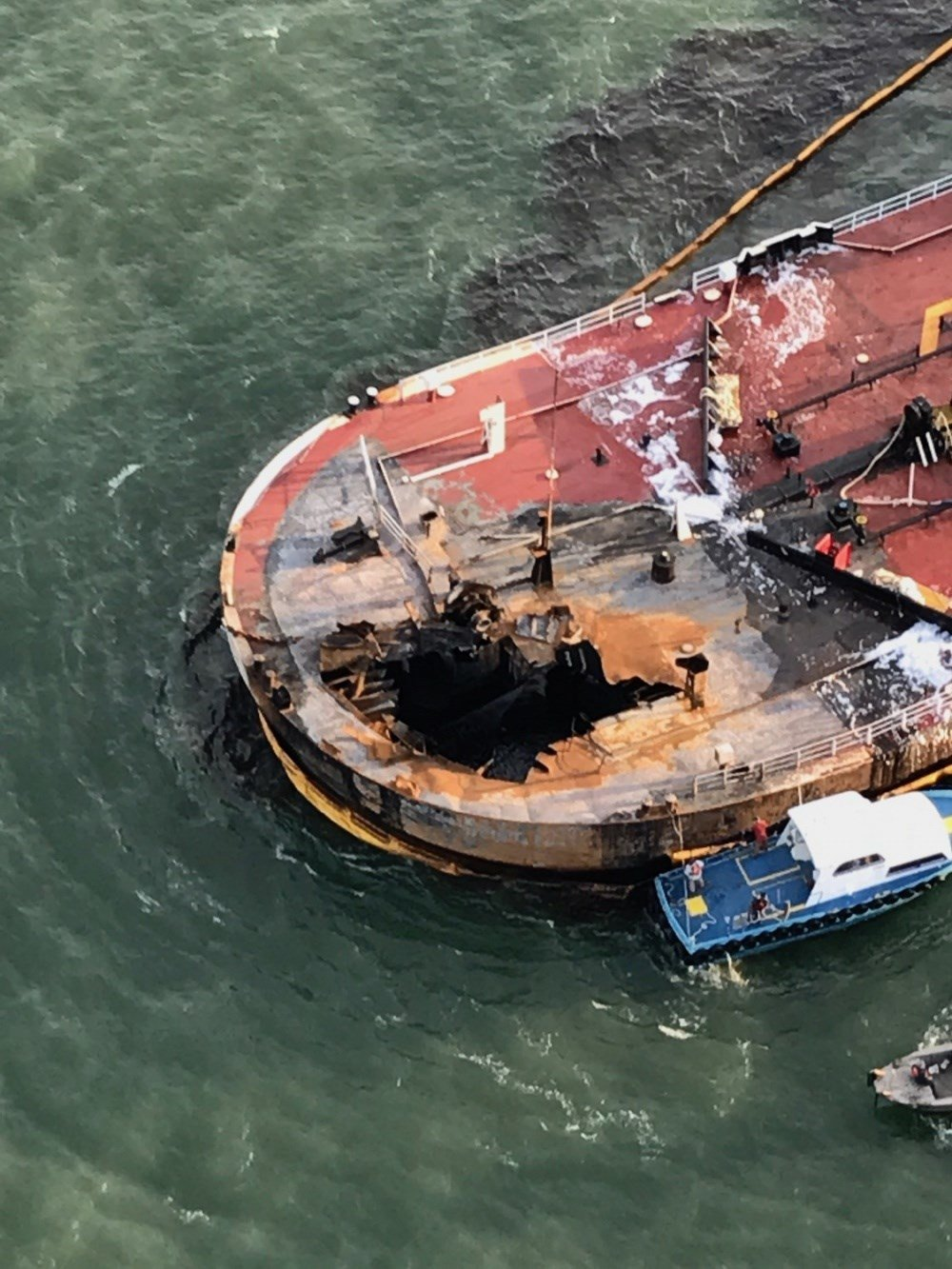 Coast Guard responds to barge fire offshore of Port Aransas, Texas / Courtesy: U.S. Coast Guard