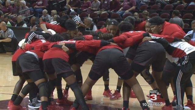 Cajuns Women's Basketball Huddle at Texas A&M