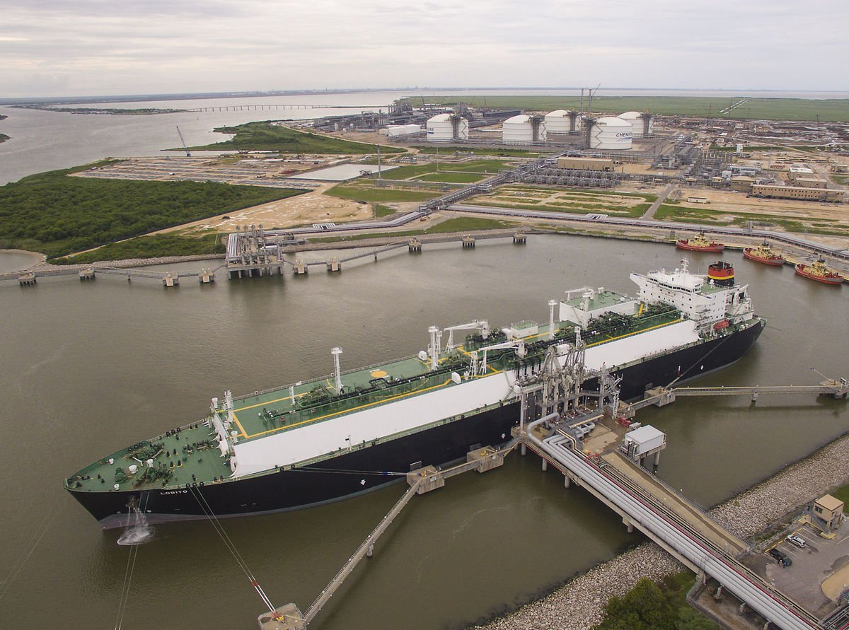 A tanker loads liquefied natural gas at Cheniere Energy's Sabine Pass LNG export facility in Cameron Parish. Cheniere Energy/The Advocate