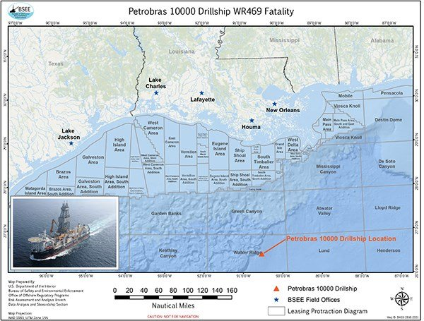 Location of fatality in Gulf of Mexico / BSEE