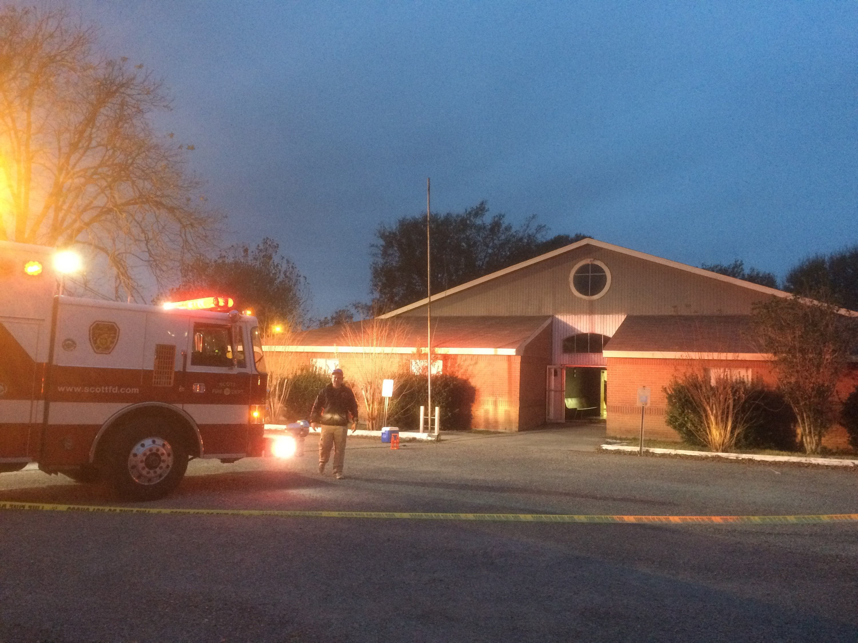 Crews are on the scene of a fire at St Martin De Porres' church hall in Scott / KATC