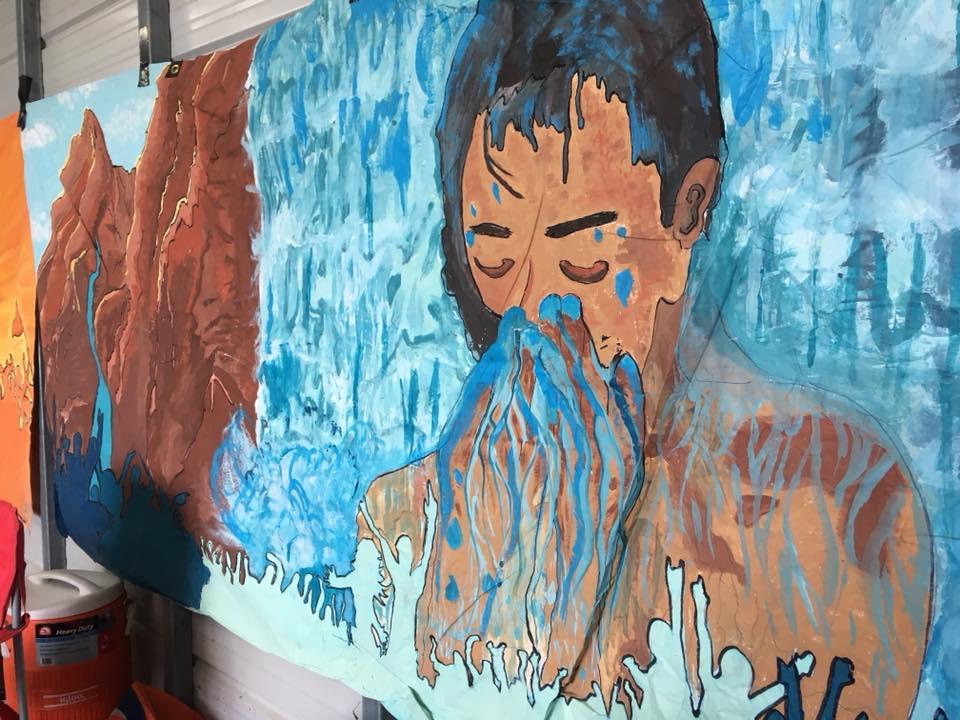 L'eau est la vie Camp protesting Bayou Bridge pipeline