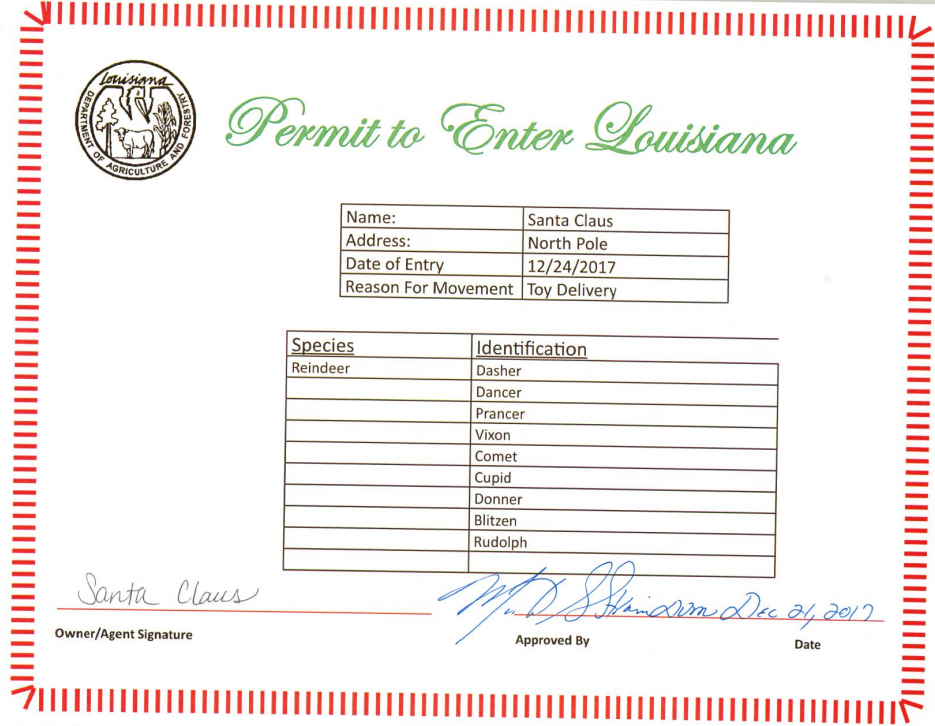 Santa's Permit for December 24, 2017 / Louisiana Agriculture and Forestry Commission