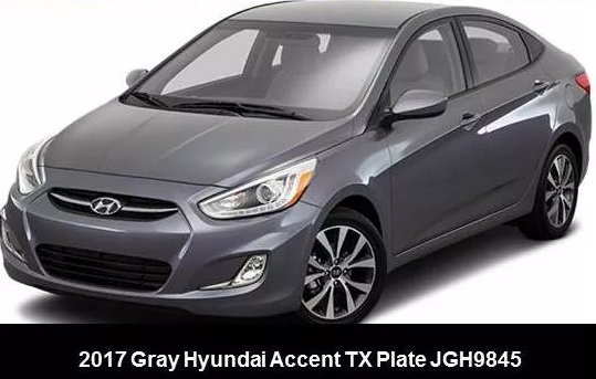 Round Rock police believe Terry Allen Miles is driving a gray 2017 Hyundai Accent with a Texas license plate: JGH9845 / Texas Department of Public Safety