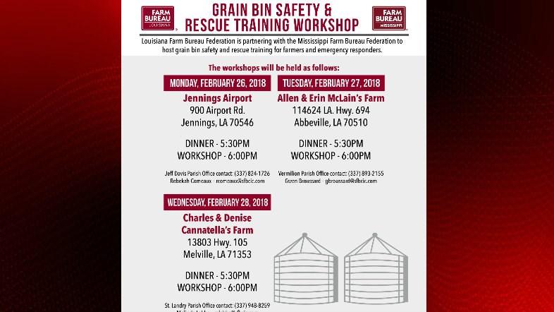 Grain Bin safety and rescue workshops / Louisiana Farm Bureau