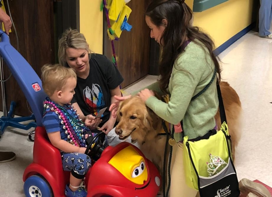 Komfort Krewe Pet Therapy volunteers Elizabeth LaPointe and Olive pause to share a special Mardi Gras treat with Asher DeHart, 2, and his mom, Kelsie DeHart, during the sixth annual Mardi Gras parade Friday, Feb. 9 at Women's & Children's Hospital.