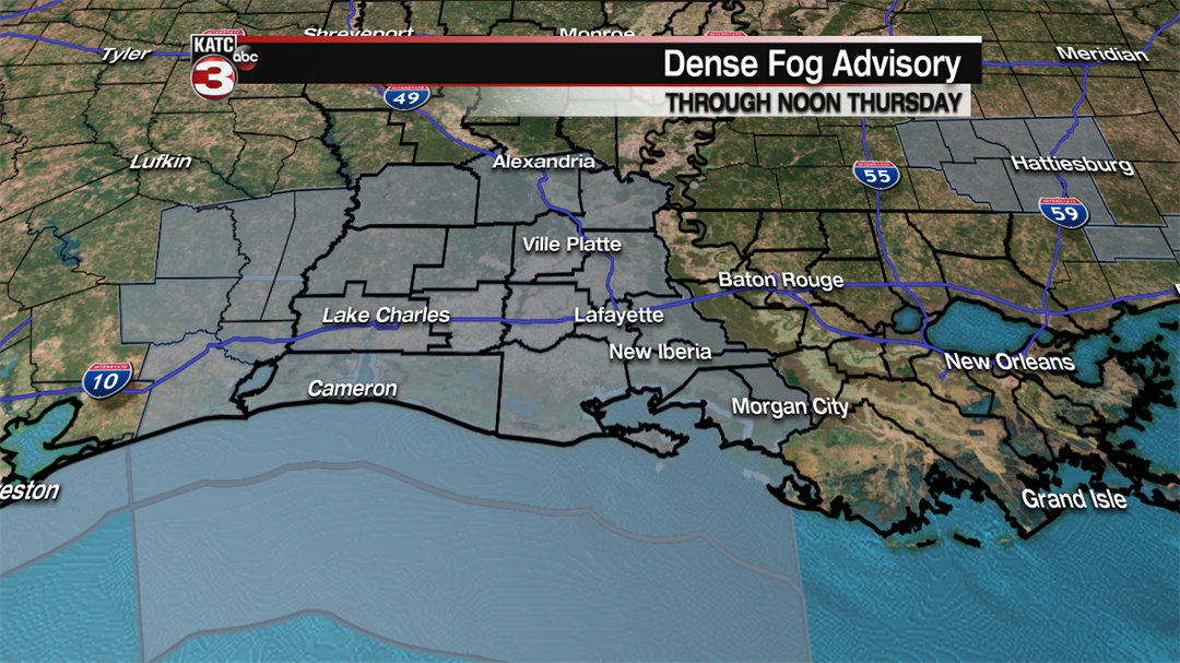 Advisory issued for dense fog, near zero visibility Thursday