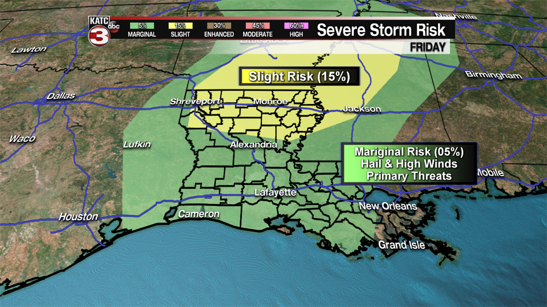 Severe thunderstorms possible Friday in metro New Orleans