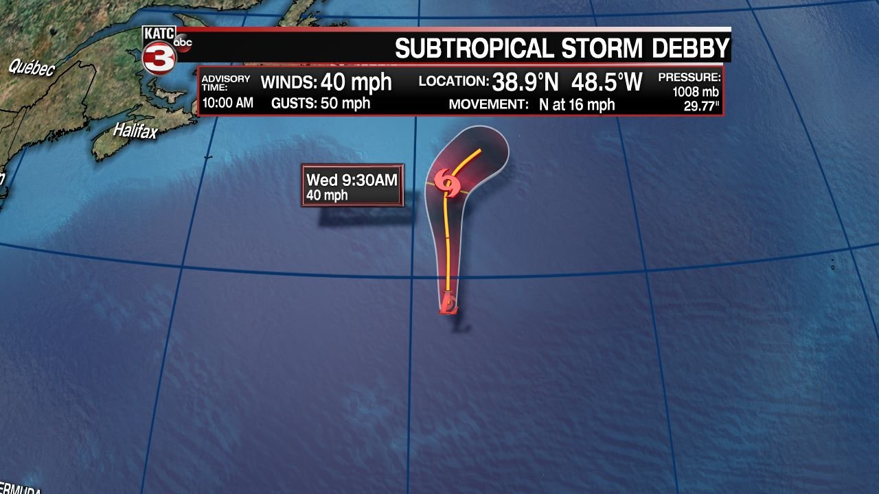 Subtropical Storm Debby forms in north Atlantic