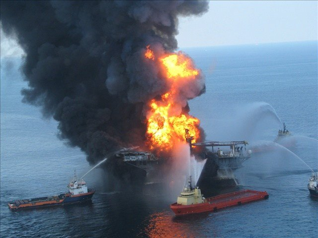 Courtesy DoD -- Boats try to extinguish the fire on the Deepwater Horizon
