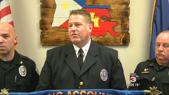 Lafayette City Marshal Brian Pope speaks at an October 2015 press conference that ultimately led to a public records lawsuit, house-arrest sentence and seven-count felony indictment.